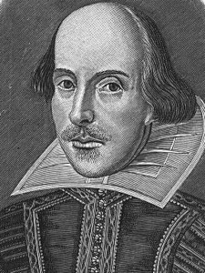 A black and white engraving of William Shakespeare is shown.