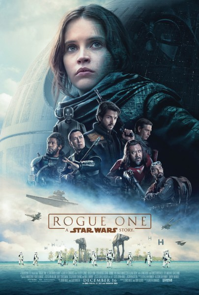 The theatrical poster from Rogue One: A Star Wars Story is shown.