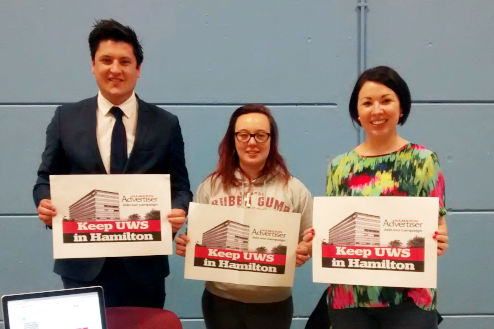 Monica Lennon, Ged Killen and Eva Murray campaigning to keep UWS in Hamilton
