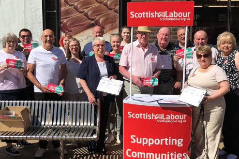 Labour street stall in Larkhall for Save Our Care Homes