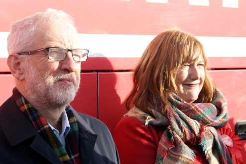 Angela Feeney, pictured with Jeremy Corbyn, is fighting to win Motherwell and Wishaw for Labour