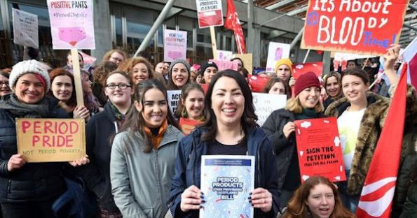 Monica Lennon and campaigners celebrate passing of Period Poverty Bill