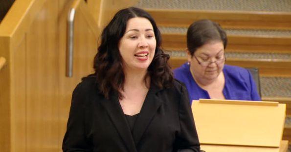 Monica Lennon speaking in period poverty debate