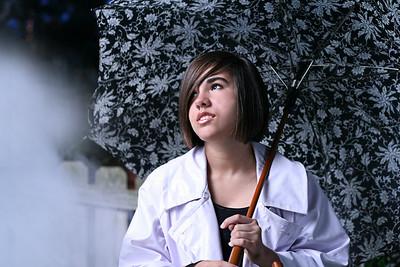 umbrella and fog portrait