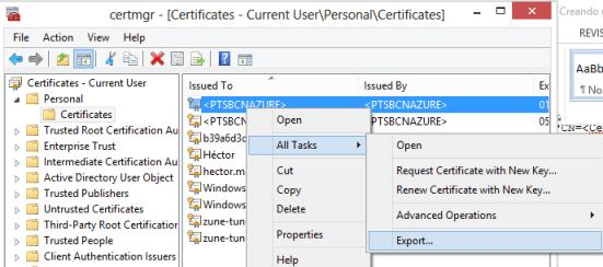 Exportando certificados
