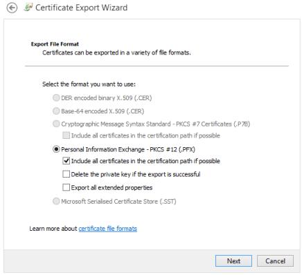 Exportación certificado cliente