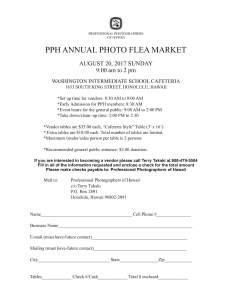 PPH Annual Flea Market sign up form