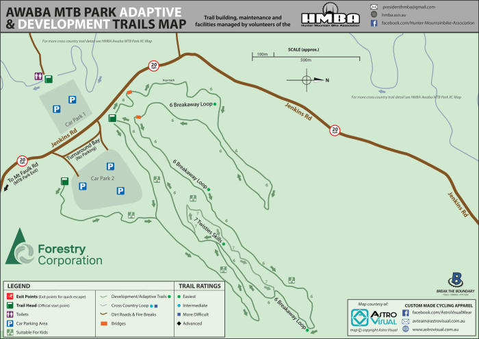 HMBA Awaba MTB Park DEV Trail Map-2020