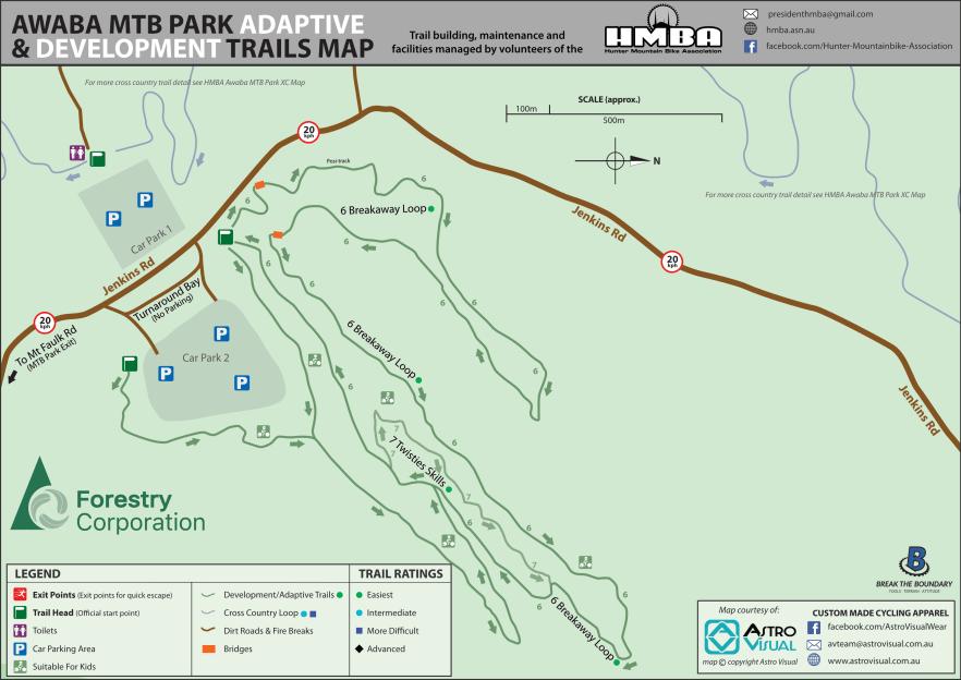 HMBA Awaba MTB Park DEV Trail Map-2020