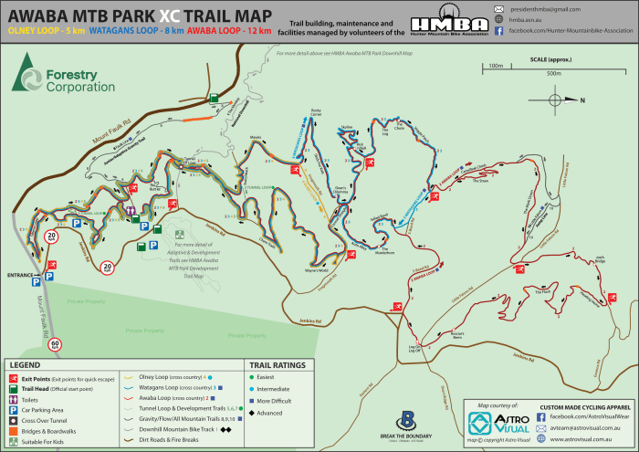 HMBA Awaba MTB Park XC Trail Map-2020