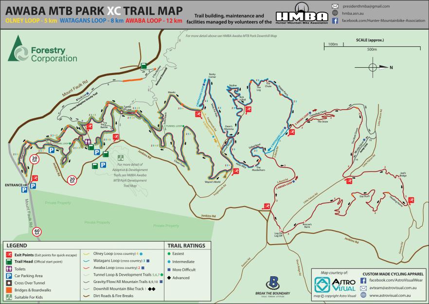 HMBA Awaba MTB Park XC Trail Map-2020