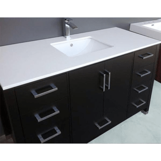 61 in w x 22 in d engineered quartz vanity top with white single trough basin