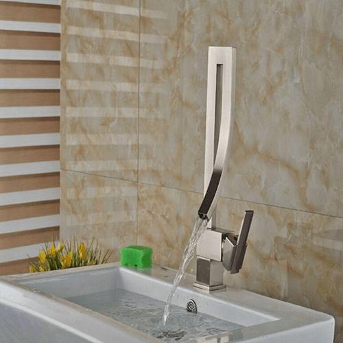 modern waterfall bathroom basin faucet vessel sink one handle hole mixer tap