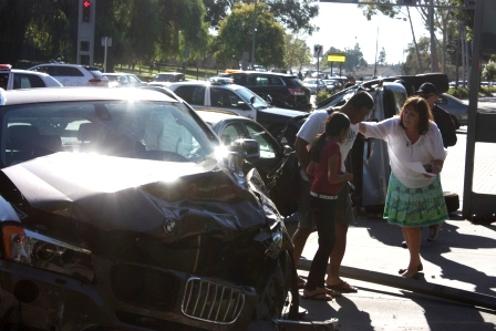 Cerritos High School Principal Janet Peterson at the scene of accident