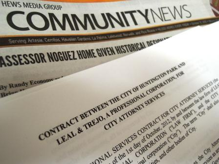 Los Cerritos Community News has obtained the Huntington Park City Attorney contract between the law offices of Leal and Trejo, and taxpayers in this cash starved city could be on the financial hook to legally defend LA County Assessor John Noguez in any possible criminal charges he may face in the future