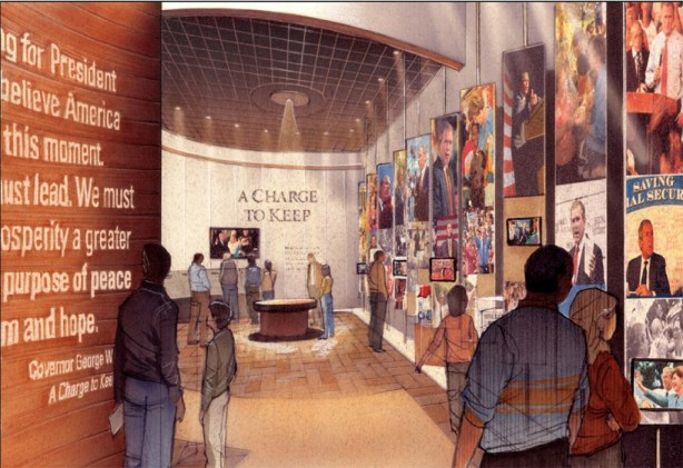 Artist rendering of the entrance to the permanent exhibit at the George W. Bush Presidential Library and Museum. Courtesy George W. Bush Foundation.