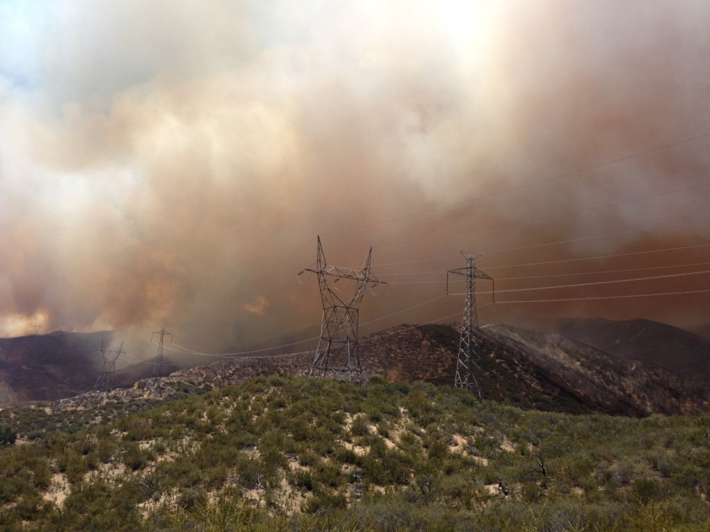Powerhouse Fire continues to grow on Sunday afternoon. LASD Photo