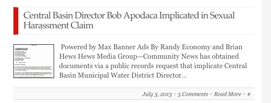Apodaca harassment story posted on July 3.