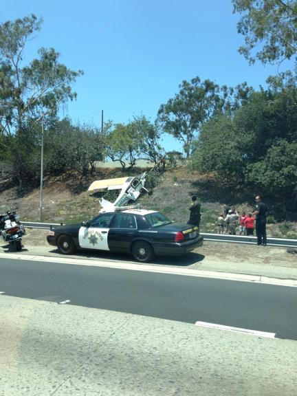 This photo of the crash on the 405 Freeway on Saturday was sent to Los Cerritos Community Newspaper from reader Angela Madsen.