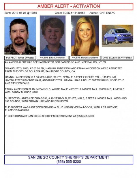 HANNAH and ETHAN ANDERSON: AMBER ALERT ISSUED IN CALIFORNIA FOR