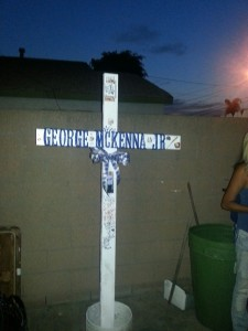 A memorial cross placed in the memory of 17 year old George McKenna appears to have been stolen in Norwalk and the family would like to have it returned.