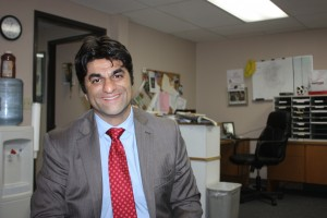 LA County Assessor candidate Omar Haroon talks to Hews Media Group - Community Newspaper about his 2014 campaign. Photo by Randy Economy