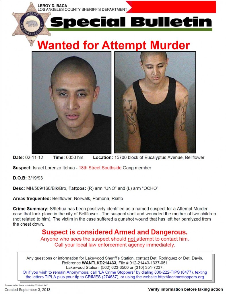 Suspect Israel Itehua Wanted for Shooting, Paralyzing Bellflower Mother of Two in 2012