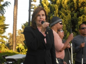 Incumbent Artesia Mayor Sally Flowers at recent campaign event. Rico Dizon Photo