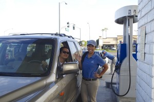Cerritos resident Robert Aldemita landed a free tank of gas last week thanks to Honda.  The free gas give away was such a success that Honda is planning future promotions in the future here in the community.  Kristin Graff Photo