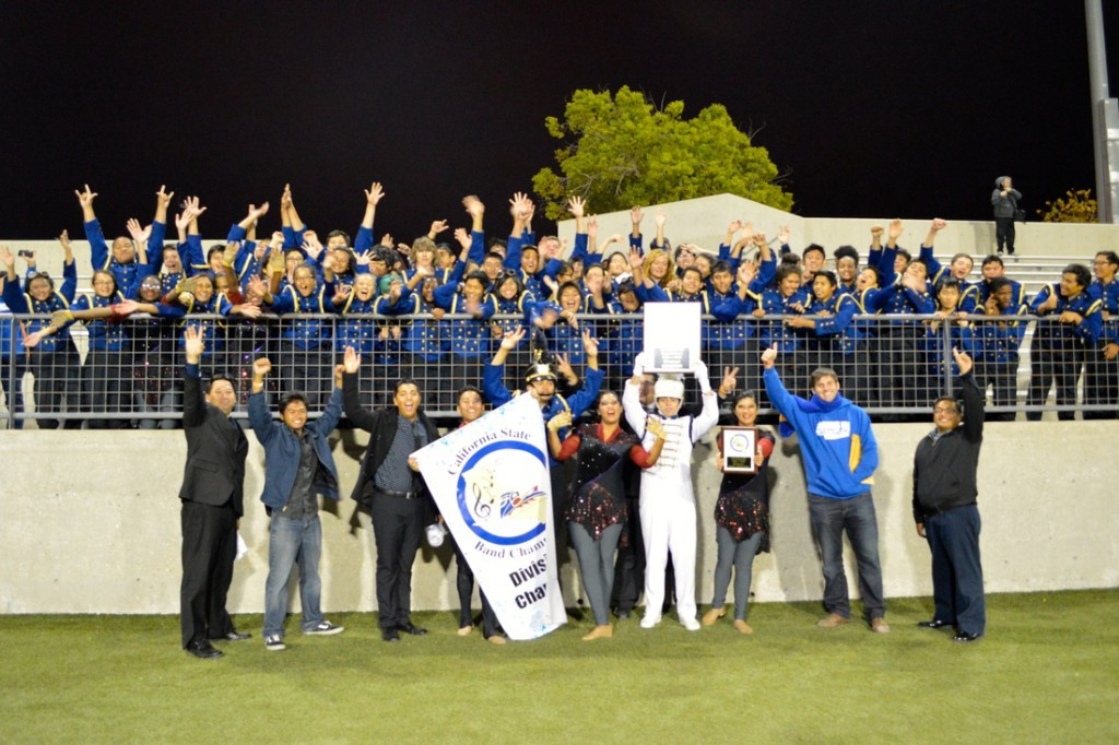 """The Gahr High School """"Marching Gladiators"""" have captured the California High School Marching Band Championship for 2013. Here the band celebrates their victory after the results were announced."""