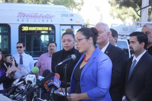 Assemblywoman Cristina Garcia, Central Basin Water Board Director Leticia Vasquez and Downey Mayor Mario Guerra (behind).