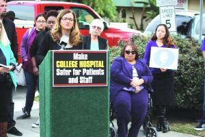 Protesters gather at College Hospital Cerritos this past week.  Randy Economy Photo
