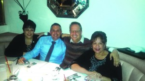 [l-r] Tina Baca del Rio, Ivan Altamirano, Randy Economy and Lelia Leon at Stevens Steakhouse. The three may have  violated strict California Open Meeting Law. Photo by Brian Hews
