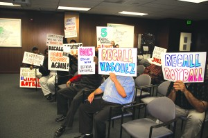 "In a contentious meeting on Thursday, Central Basin Water Directors Leticia Vasquez, James Roybal, and Bob Apodaca came up short in an effort to fire General Manager Tony Perez. Angry supporters showed up with signs denouncing the ""Roybal Three."""