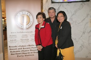 Mendrei Leelin (center) with wife Cecile(left) and Consul General Hellen Barber de la Vega during the grand opening of Leelin Bakery & Cafe in Eagle Rock.  Rico Dizon Photo