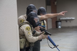 Los Angeles County Sheriff Deputies engage in terrorist active shooter simulation at Gahr High School in Cerritos on Tuesday.  Photo by Peter Parker