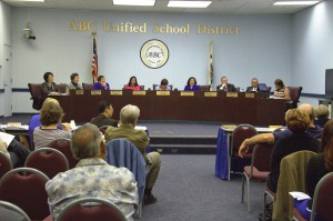 Members of the ABC School Board during a heated meeting over future district elections.  Pete Parker Photo