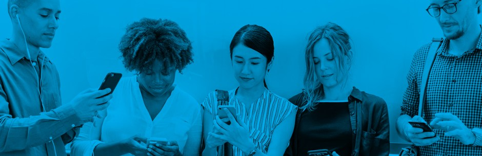 young professionals on mobile devices