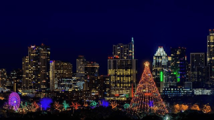 Zilker Holiday Tree on Austin Skyline