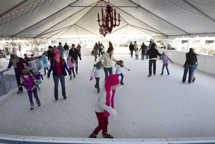 ice skaters on the plaza