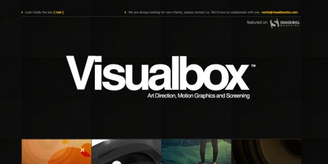 Visualbox website with bold text