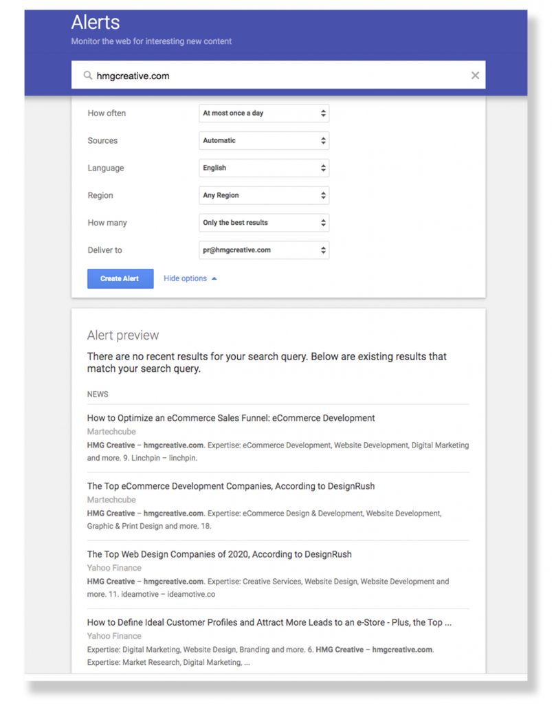 New Website Google Alerts