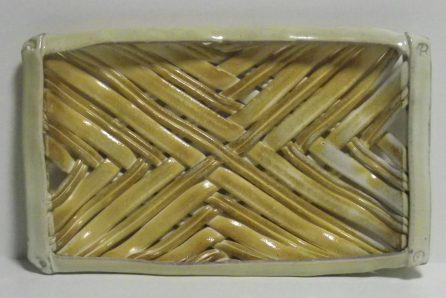soda-fired woven bread tray