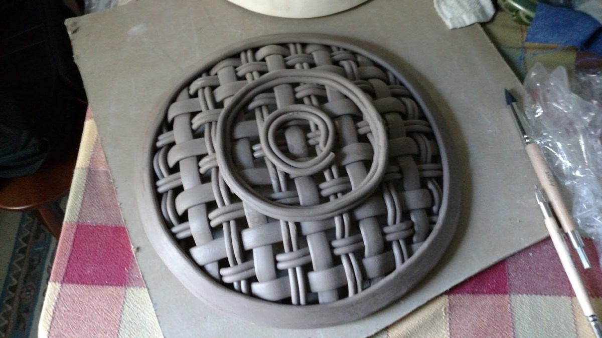 underside of leather-hard platter