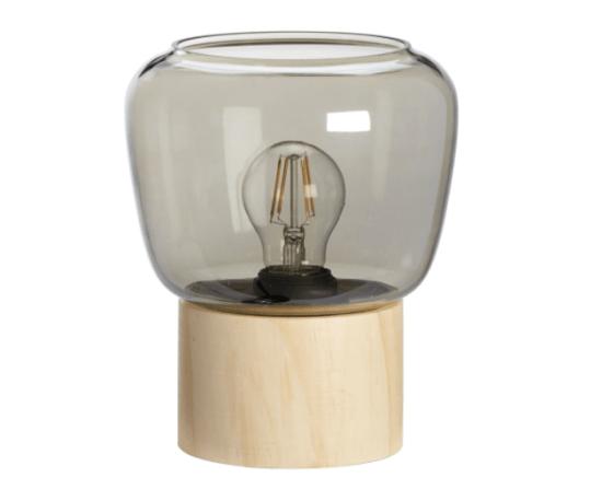 Tafellamp-glas-hout-kwantum