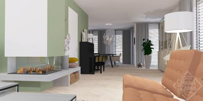 interieuradvies-woonkamer-interieurontwerp-houten vloer-zachte kleuren-open haard