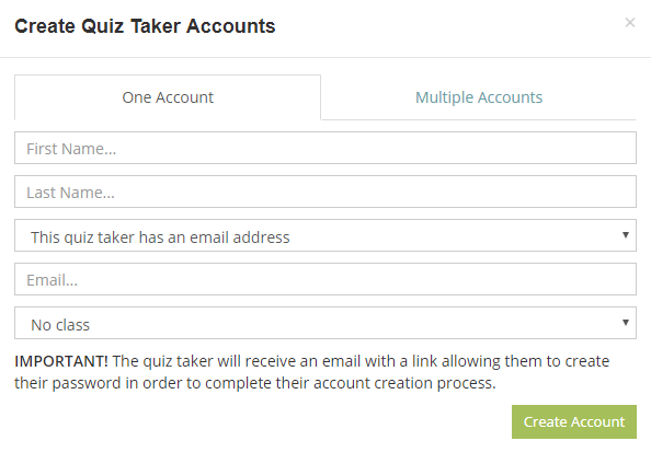 Create quiz taker accounts to make a test ready to be taken by your employees or students