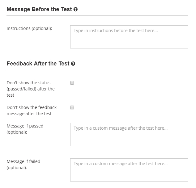 Add instructions and feedback messages after the test