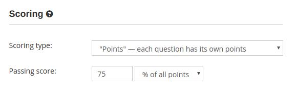 Grading with points in online creator software for teachers HmmQuiz