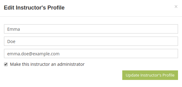 Edit instructor's profile to make them an administrator of all of your online tests and exams.